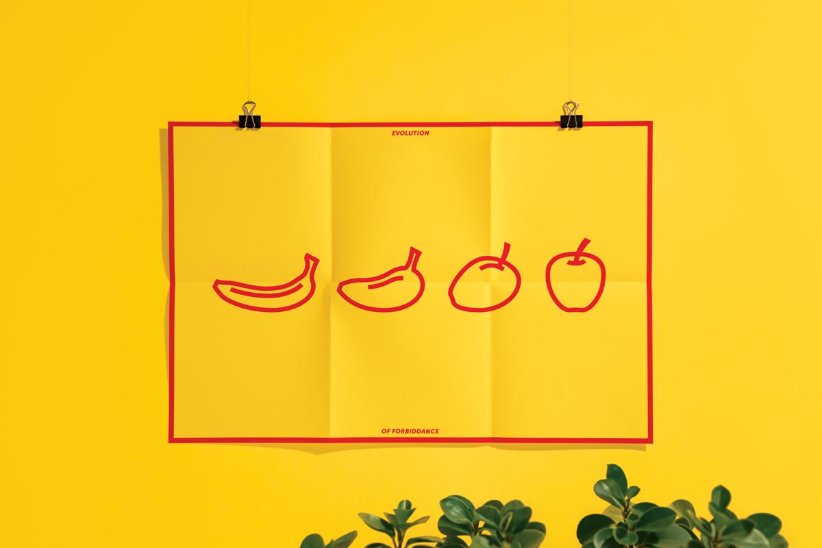 card postcard greeting poster monkey banana apple evolution darwin bible sin forbidden Fruit silkscreen Icon