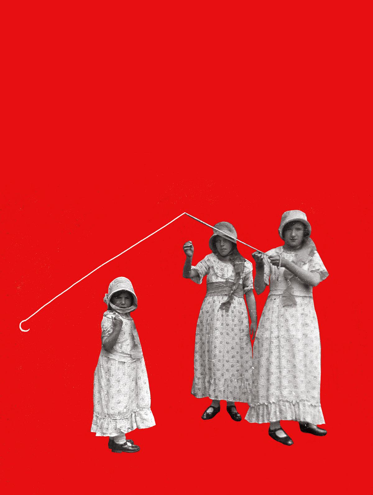 ilustracja Theatre collage kolaz graphicdesign design ILLUSTRATION  red woman book