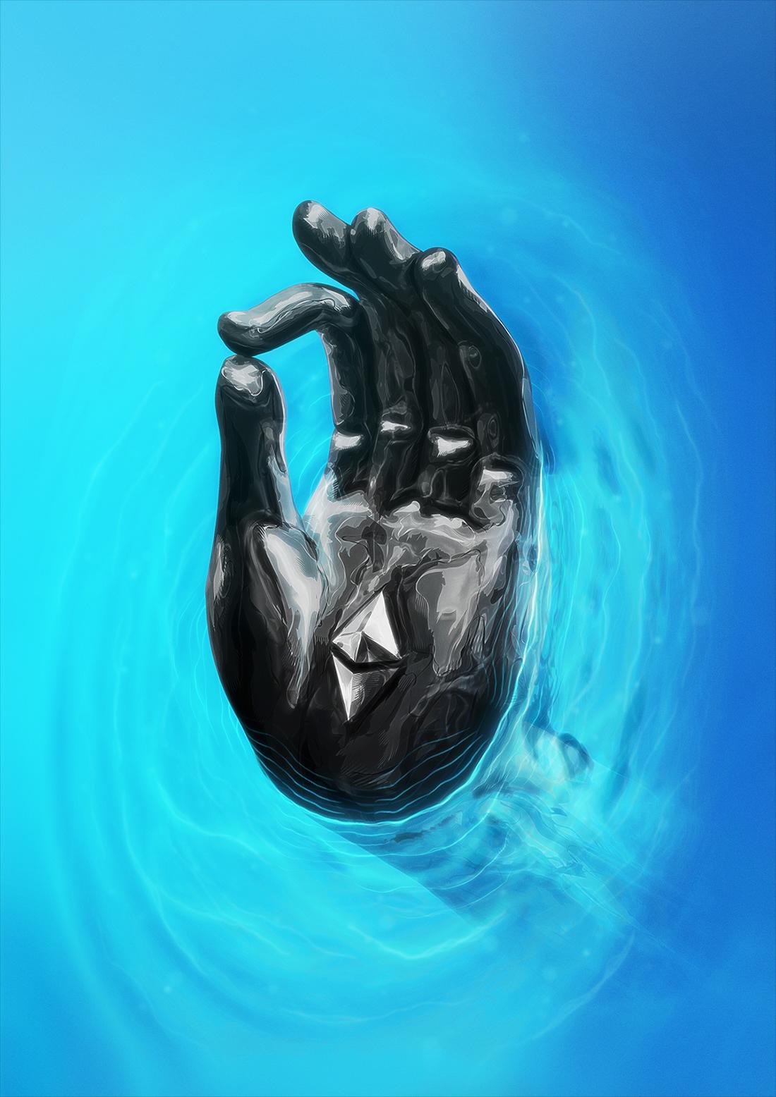 crypto death hand ILLUSTRATION  life Liquid nft portrait skull vector