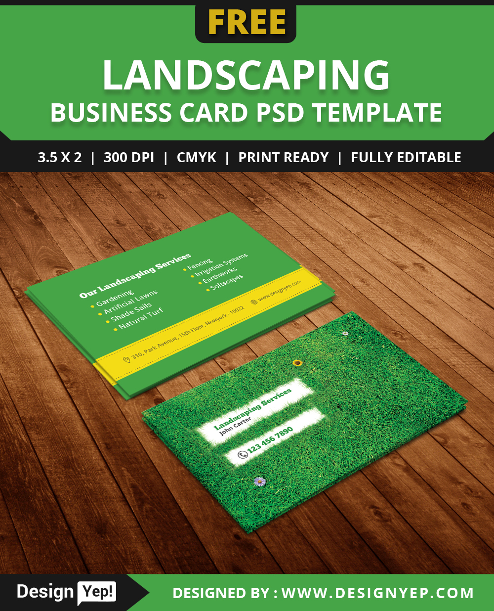 Free Landscaping Business Card Template PSD On Behance - Lawn care business cards templates free