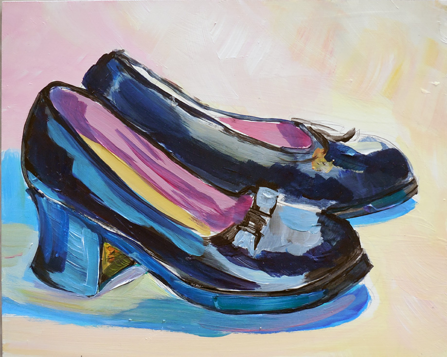 Black patent leather Mary Janes for big girls, acrylic on Masonite