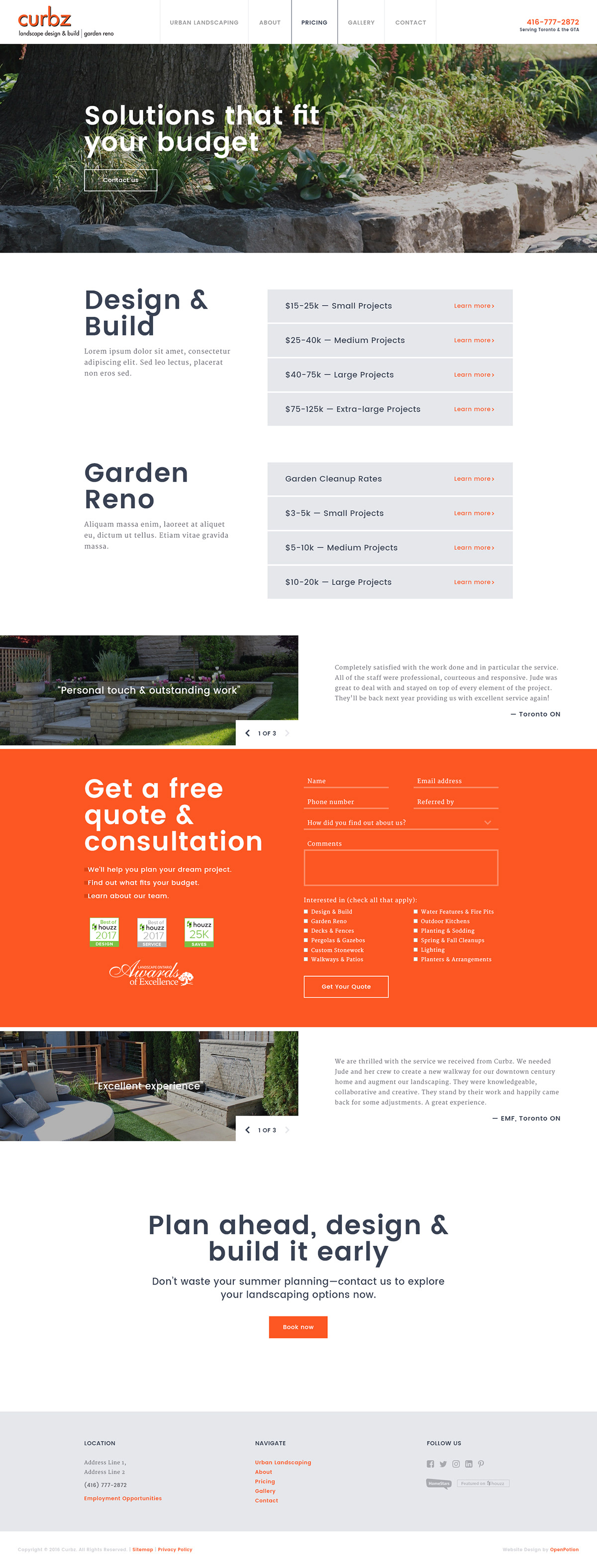 Web Design  user experience photoshop Responsive web design landscaping