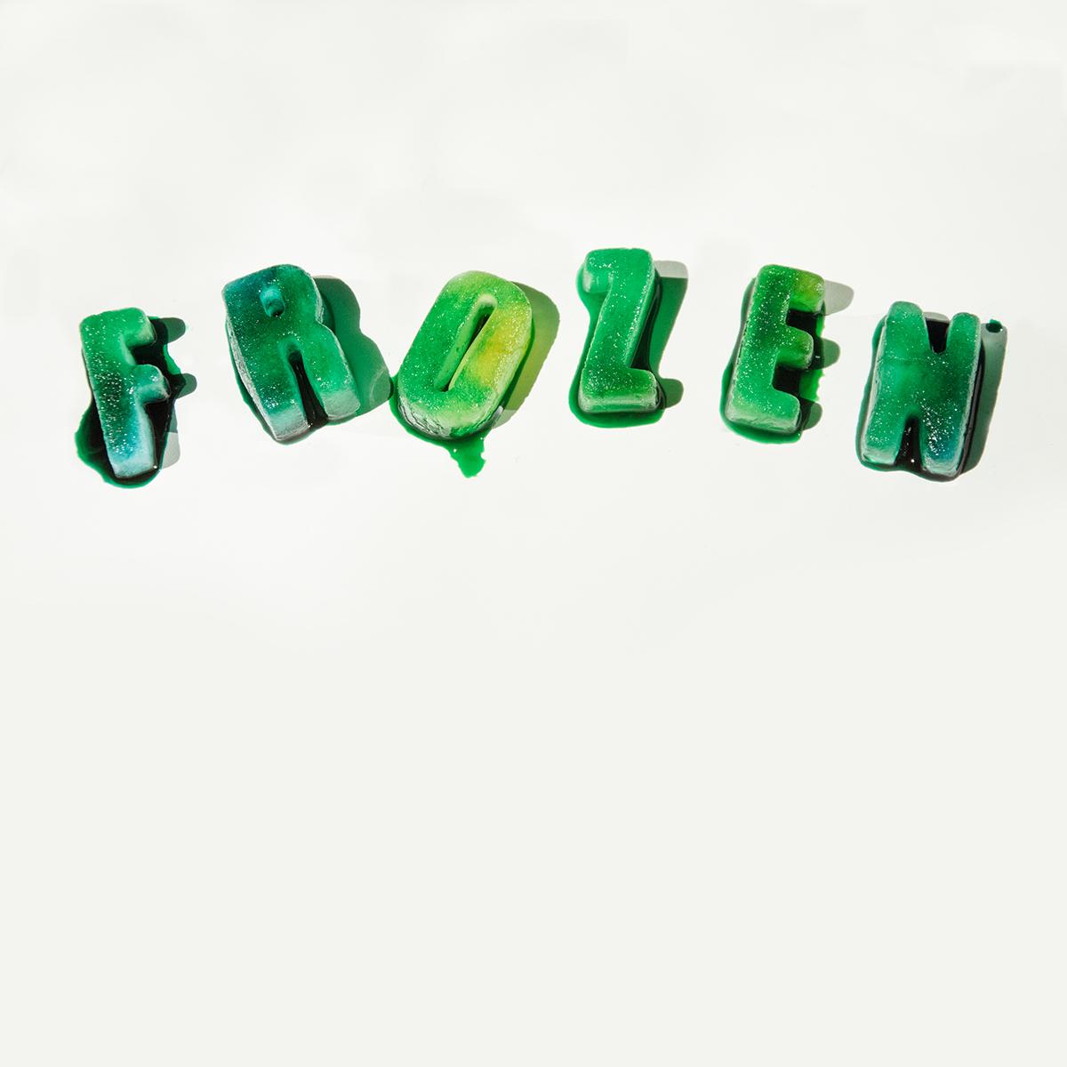 ice green blue frozen Melt cubes Froze FREEZE letters