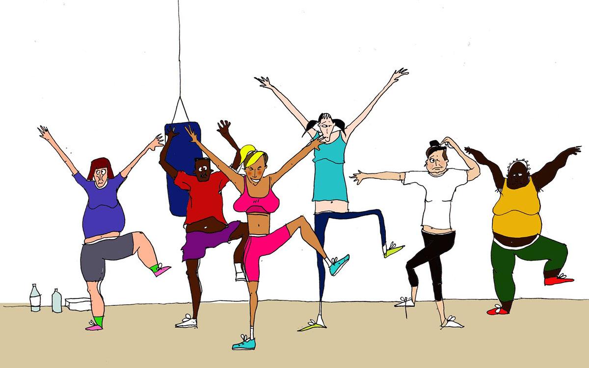 Открытки, картинки смешные про фитнес