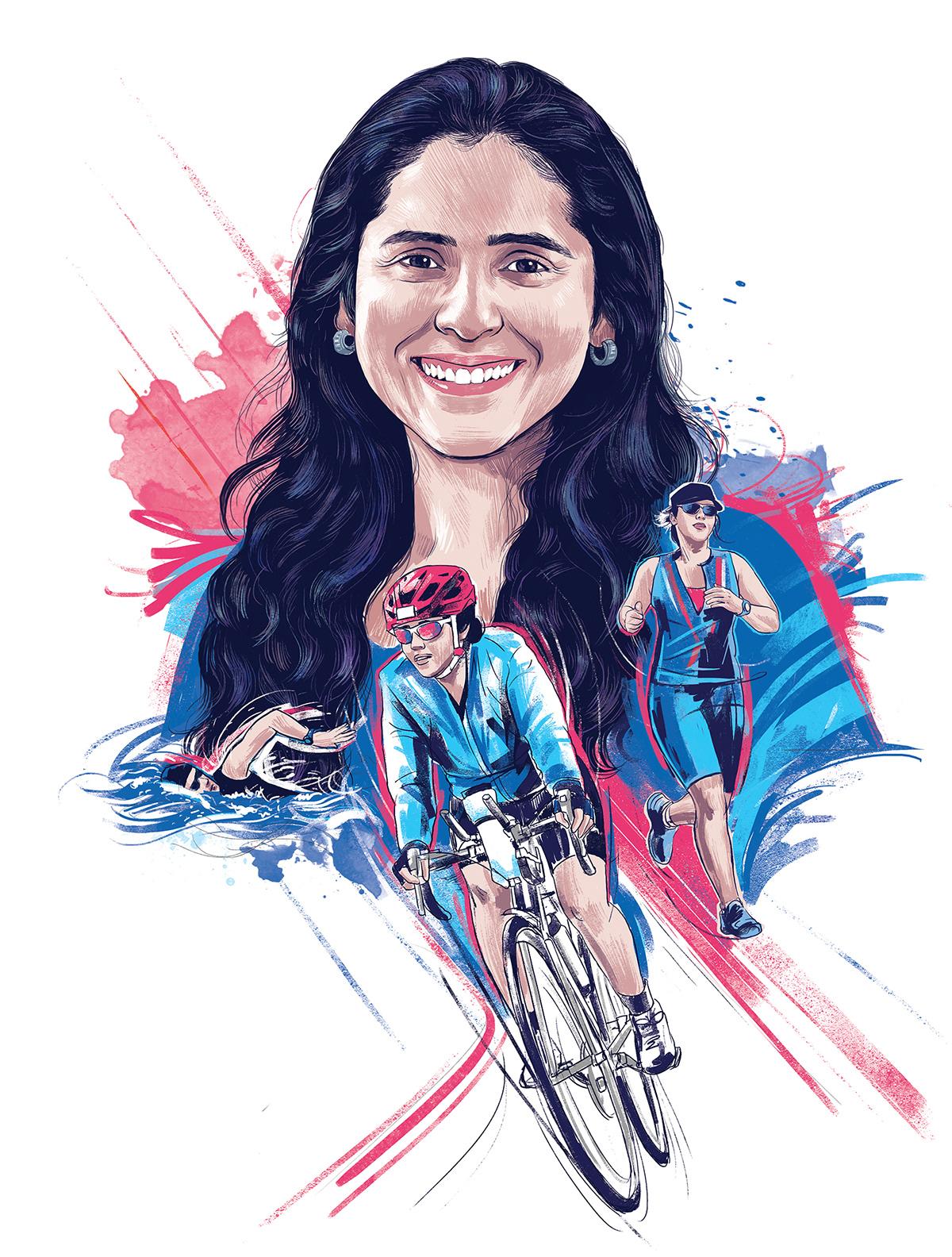art Digital Art  Drawing  Editorial Illustration ILLUSTRATION  magazine art portrait sports portrait women power