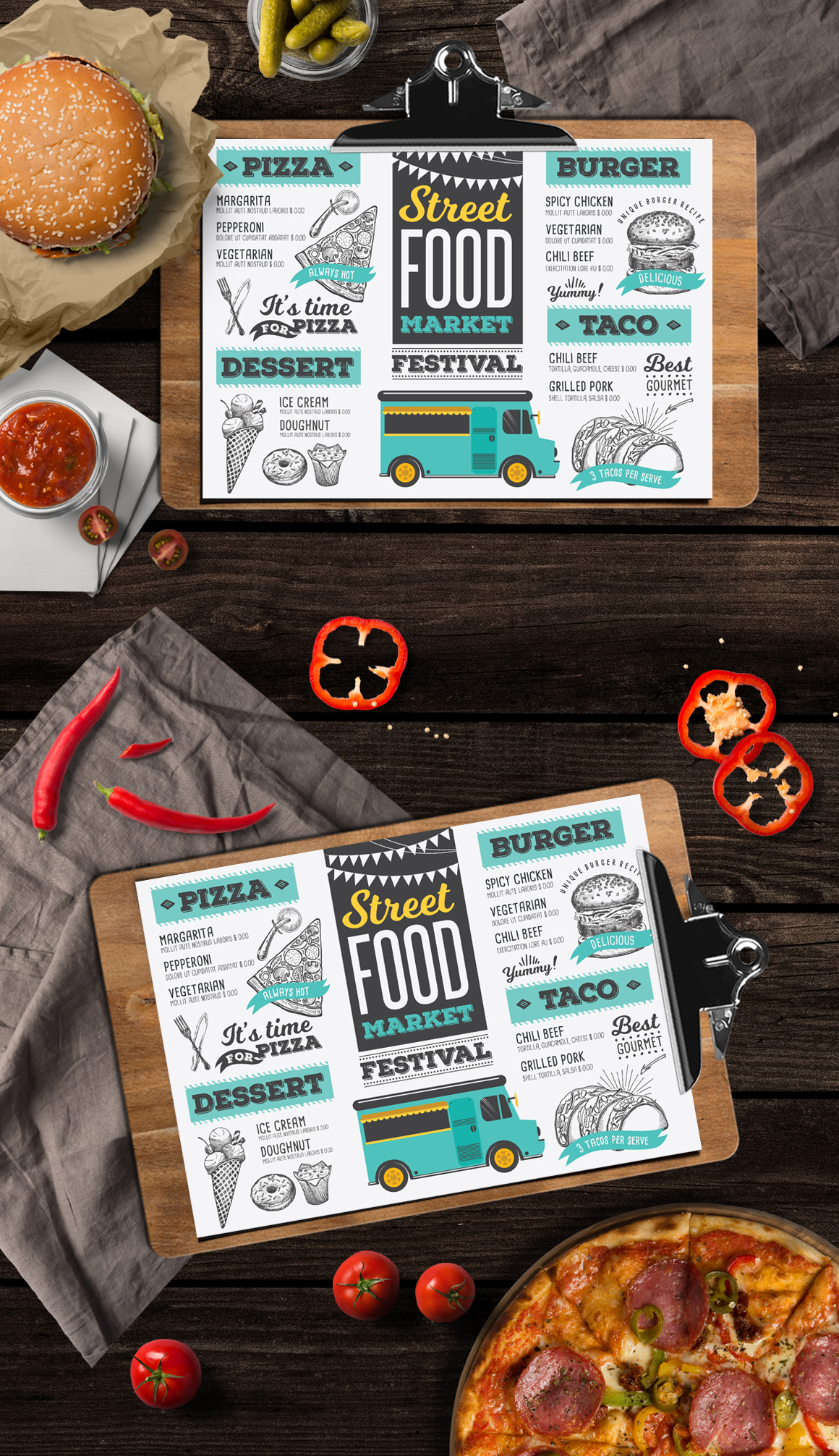 food truck menu template on behance