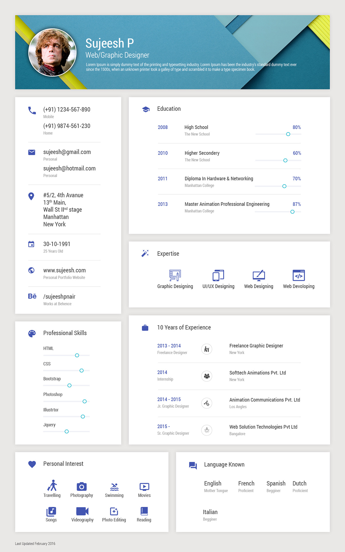 Resume Model | Google Material Design Resume Model On Behance