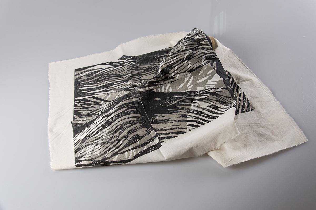 wood woodcut acrylicpaint  print textil fabric Fashion  experiment exploration