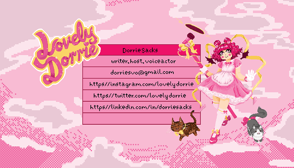 business card: logo top left; contact info in center; illustration right; pink cloud background