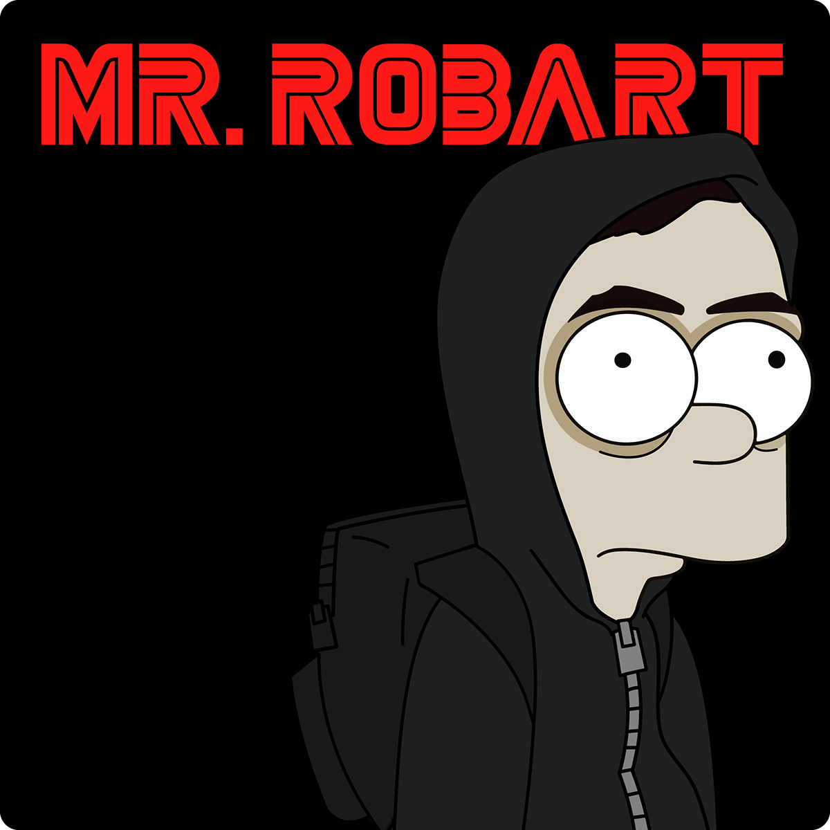 vector Character design  Logotype hacker simpsons Mr. Robot mash-up Rami Malek portrait