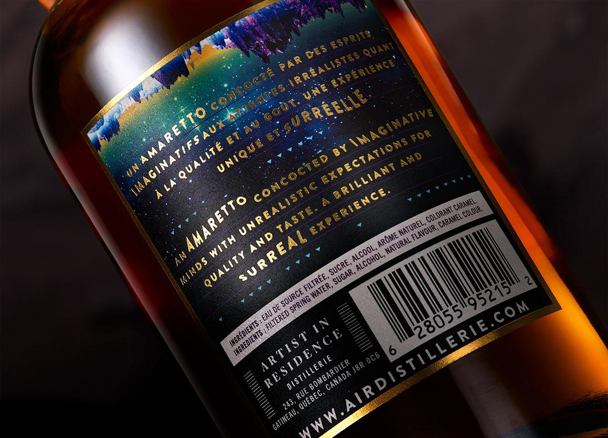 Liqueur Coffee spirit alcohol brand type gold foil surreal vibrant beverage