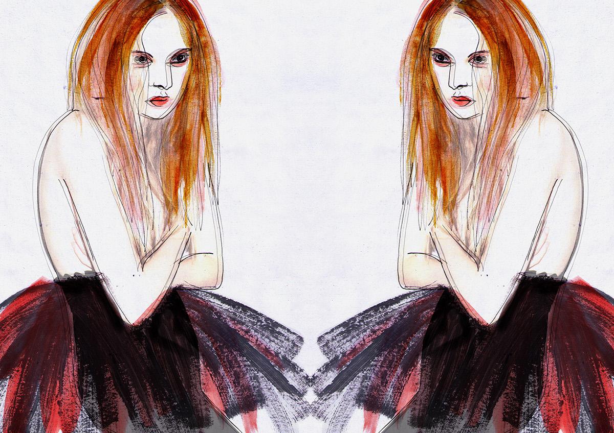 fashion illustration art digital pencil watercolor portrait editorial girl women face