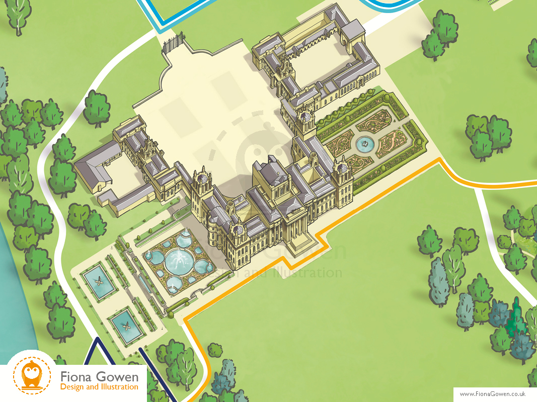 Aerial illustration of Blenheim Palace by Fiona Gowen. Cropped in from the Blenheim Palace interactive illustrated map
