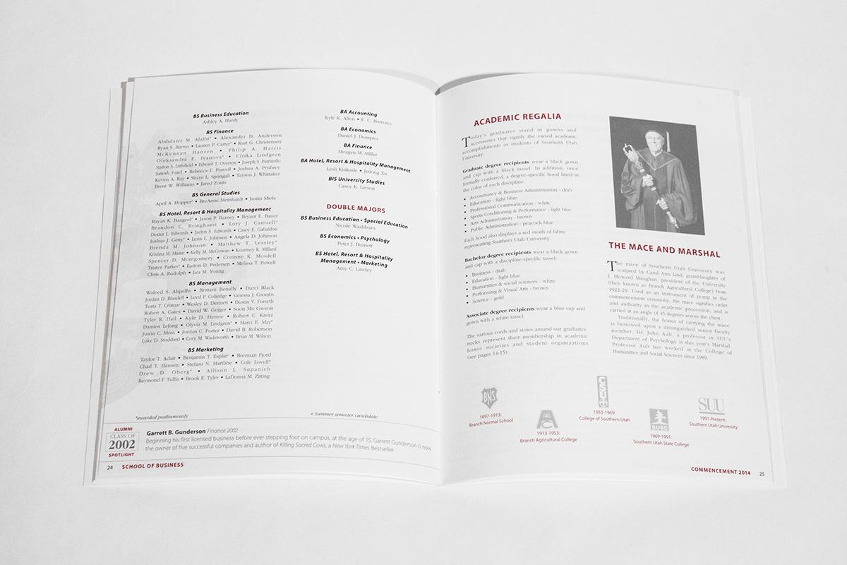 commencement graduation SUU Southern Utah University Program Booklet foil stamp