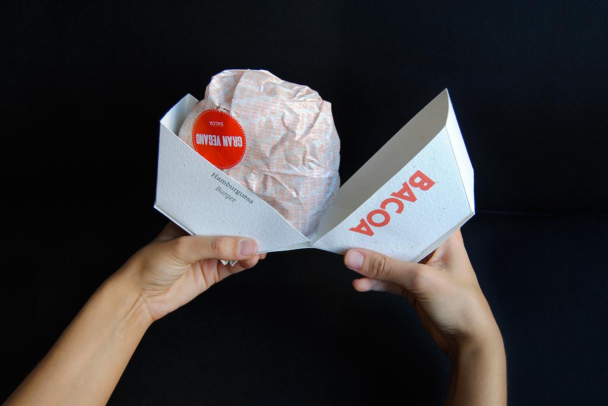 Packaging handmade burger hamburger Bacoa ecopackaging biodegradable Plant origami  seeds paper