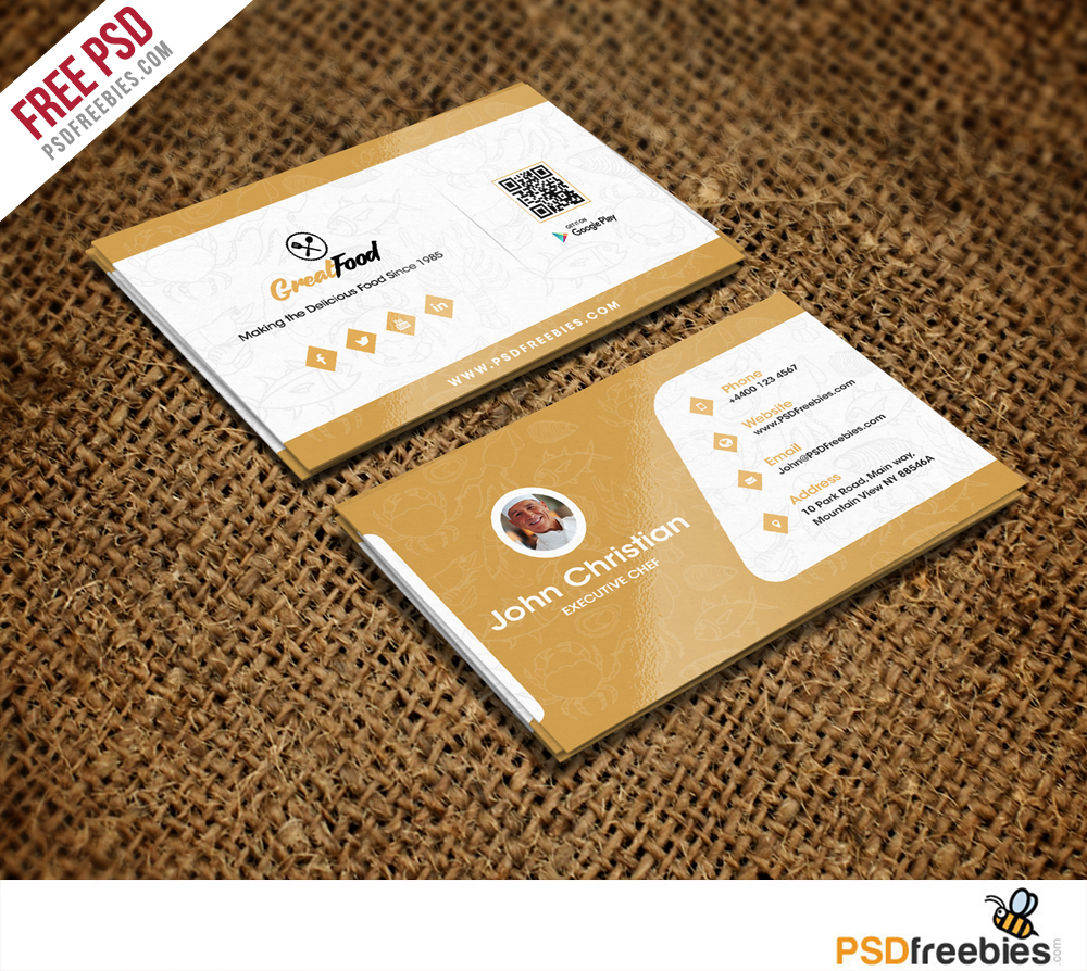 Restaurant Chef Business Card Template Free PSD on Behance