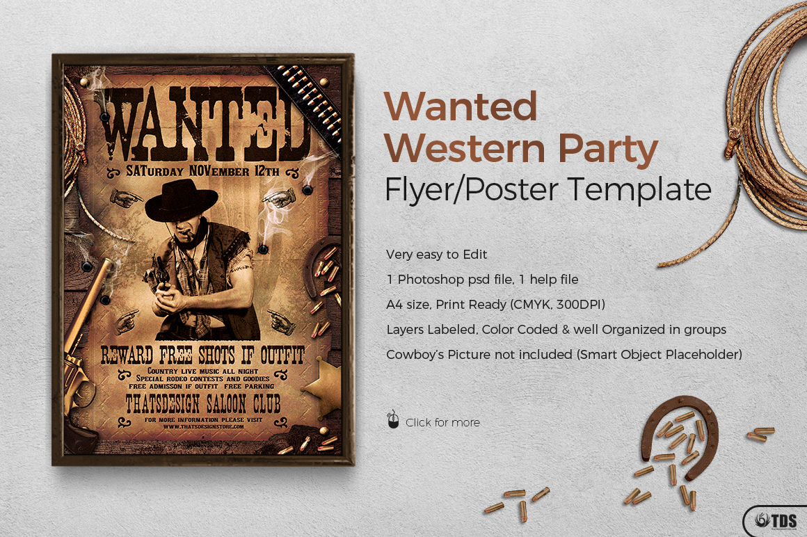 Wanted Western Party Flyer Template On Behance  Free Wanted Poster Template Download