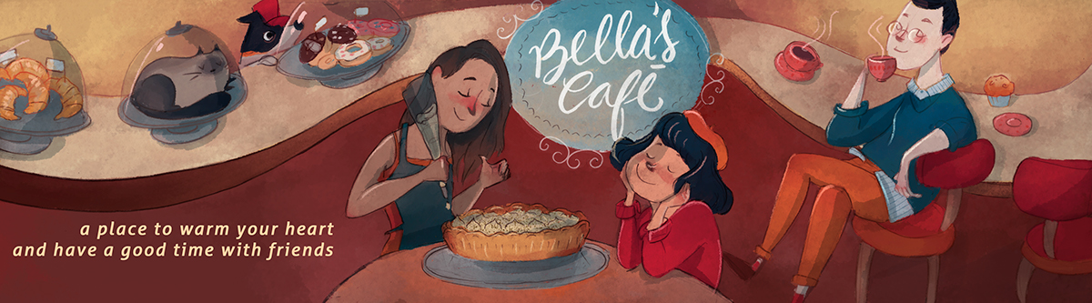 Character,design,Cat,dog,girl,boy,coffe,pie,friends,digital,children's,book,lettering