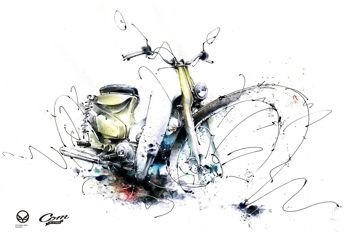 art autostyleart bikerlife design hondacub Illustrator supercub スーパーカブ 國民車 金旺90
