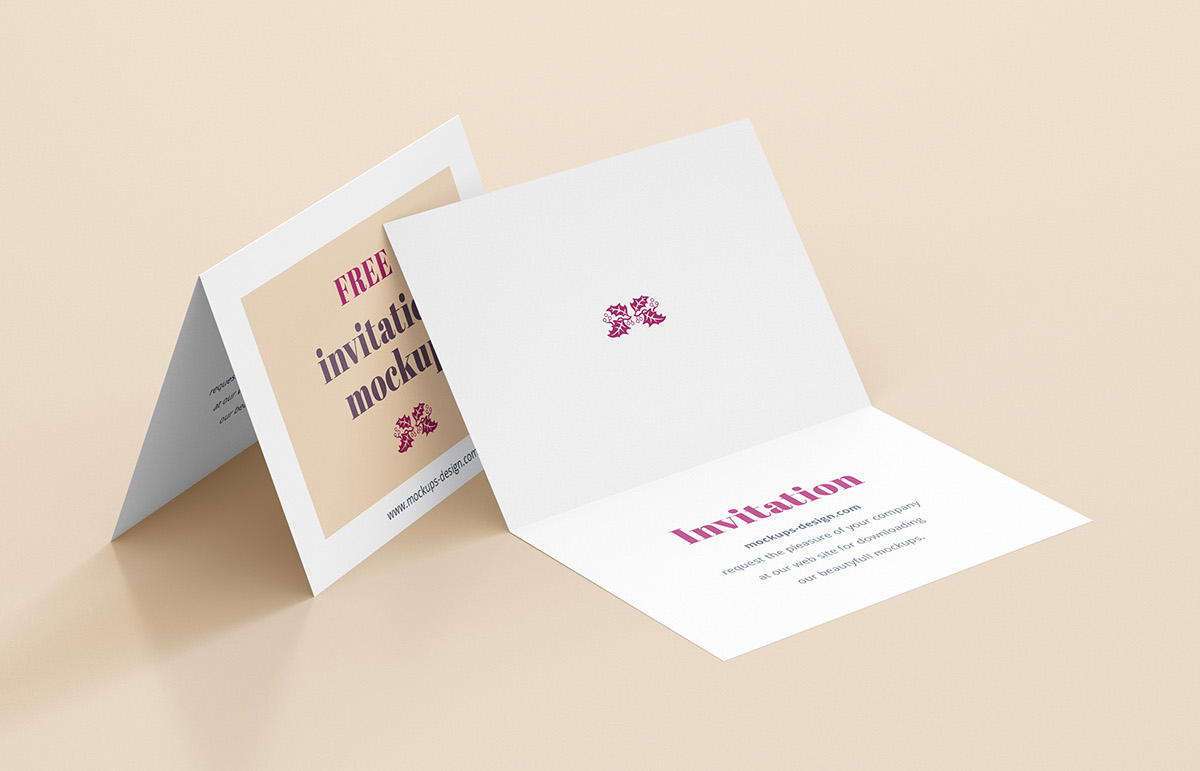 Free invitation mockup on Behance