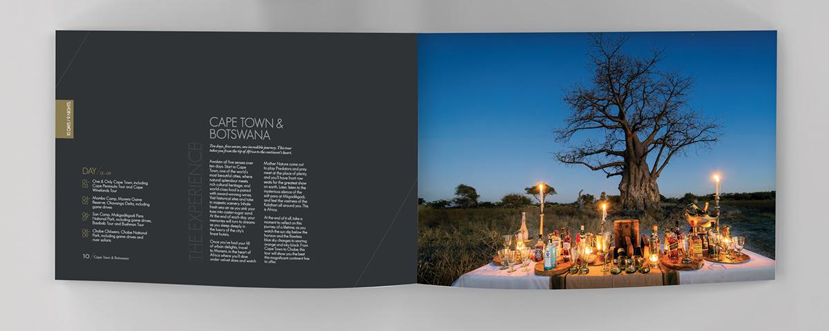 tour guide brochure luxury gold foil UV Varnish africa wildlfe kruger park cape town Zimbabwe