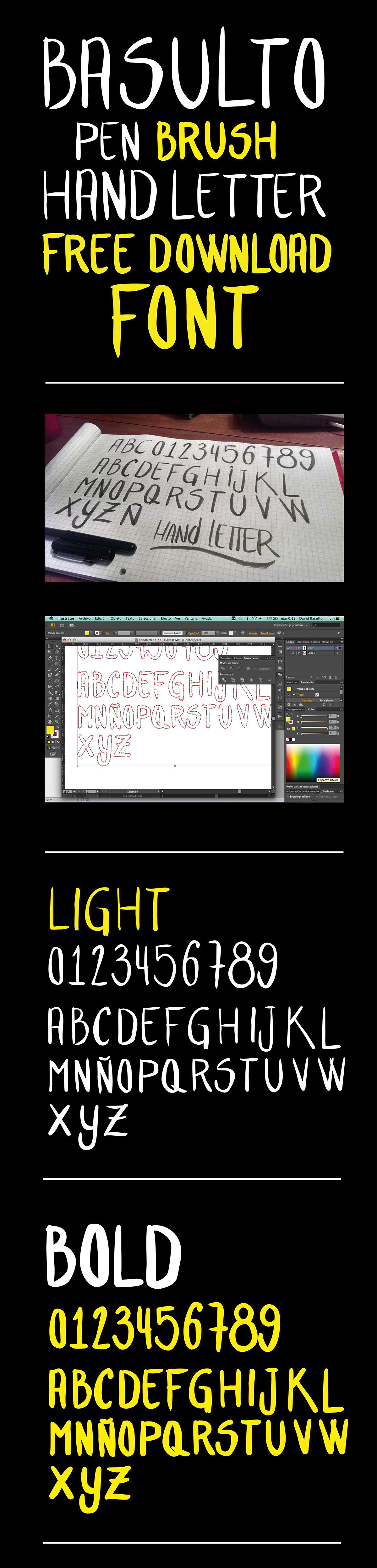 font tipografia hand letter letter hand draw free Free font free font download Hand font