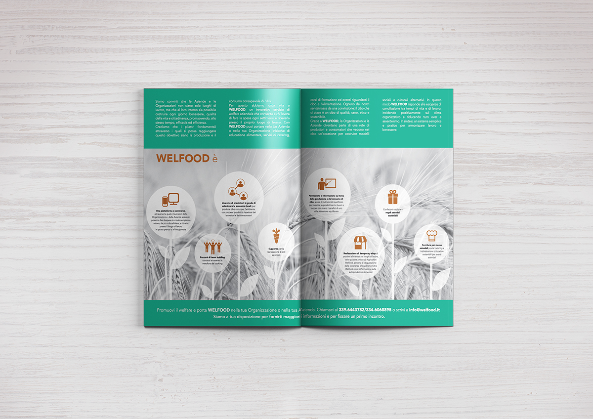 corporate Illustrator photoshop Green Identity biglietto da visita business card busta borsa carta SEMI welfood folder carta intestata brochure flyer tri fold brochure