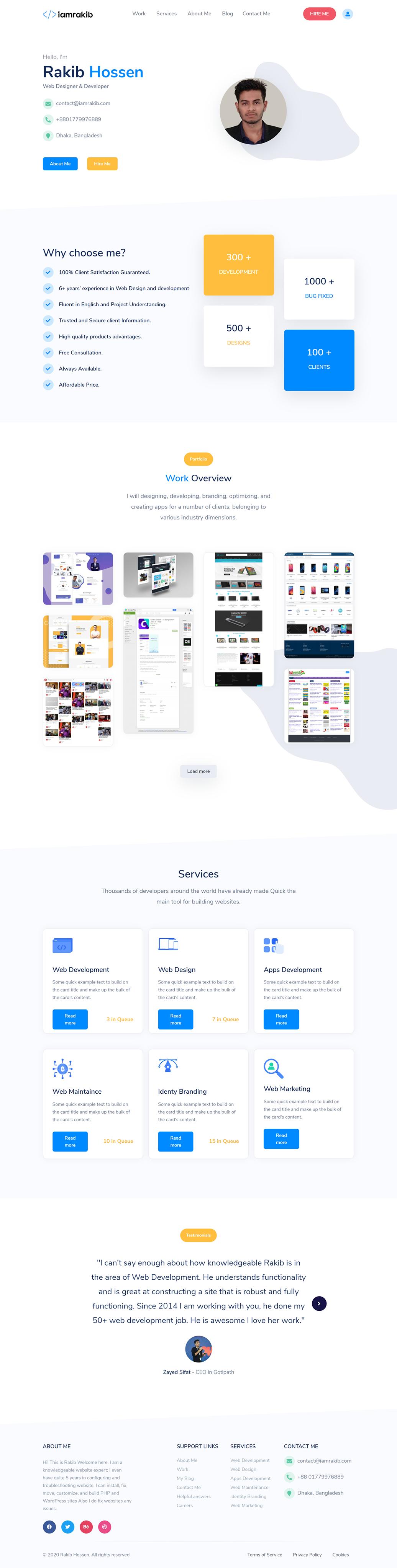 bootstrap freelancer portfolio rakib hossen ui design web developer portfolio Website UI design