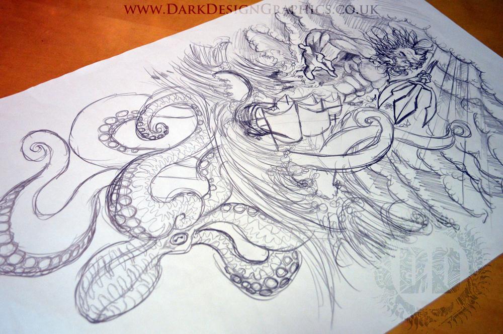 Nautical Tattoo Poseidon And Ship: Full Sleeve Nautical Tattoo Design On Behance