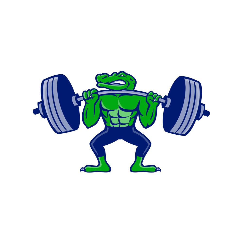 Alligator Lifting Heavy Barbell Mascot on Behance
