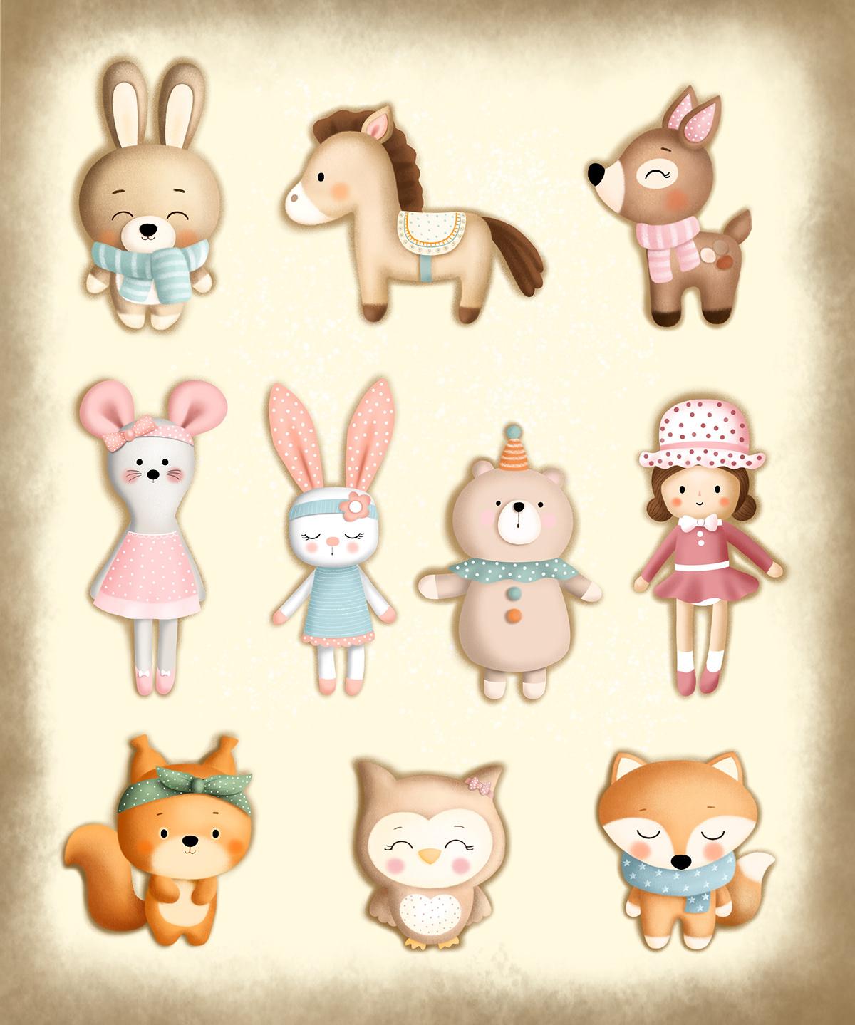 bunny children cute pig rabbit toys