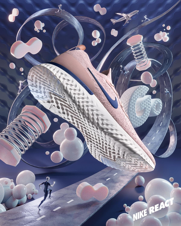 Nike epic react shoe 3D