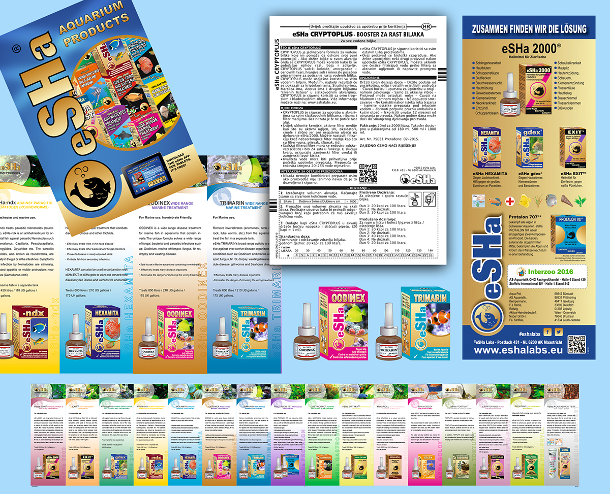 eSHa Labs package, leaflet and flyer design, ads for interzoo
