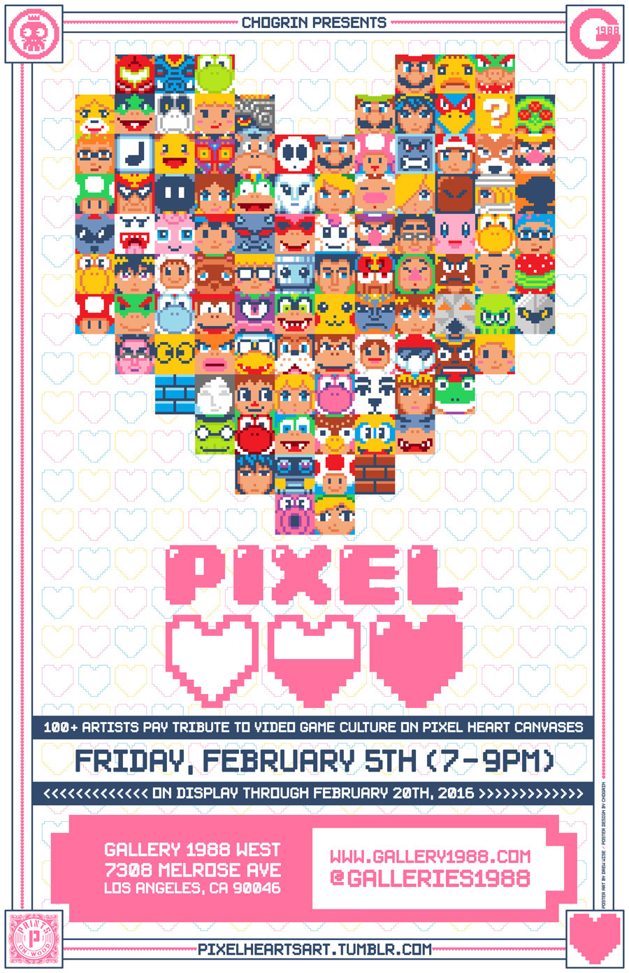Pixel Hearts Exhibition Los Angeles 2016 On Behance