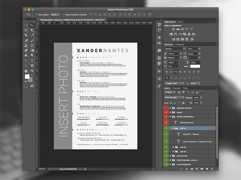 photographer resume photoshop psd template on behance - Photographer Resume