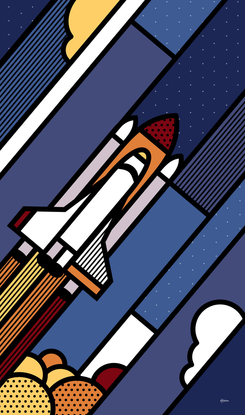 rocket Space  canvas Technology Pop Art geometric Patterns athens offices abstract