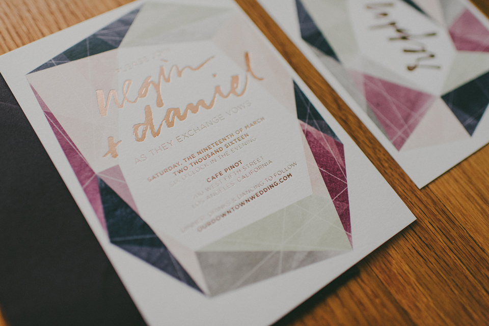 wedding,modern wedding,foil stamp,copper foil,stationery design,Los Angeles