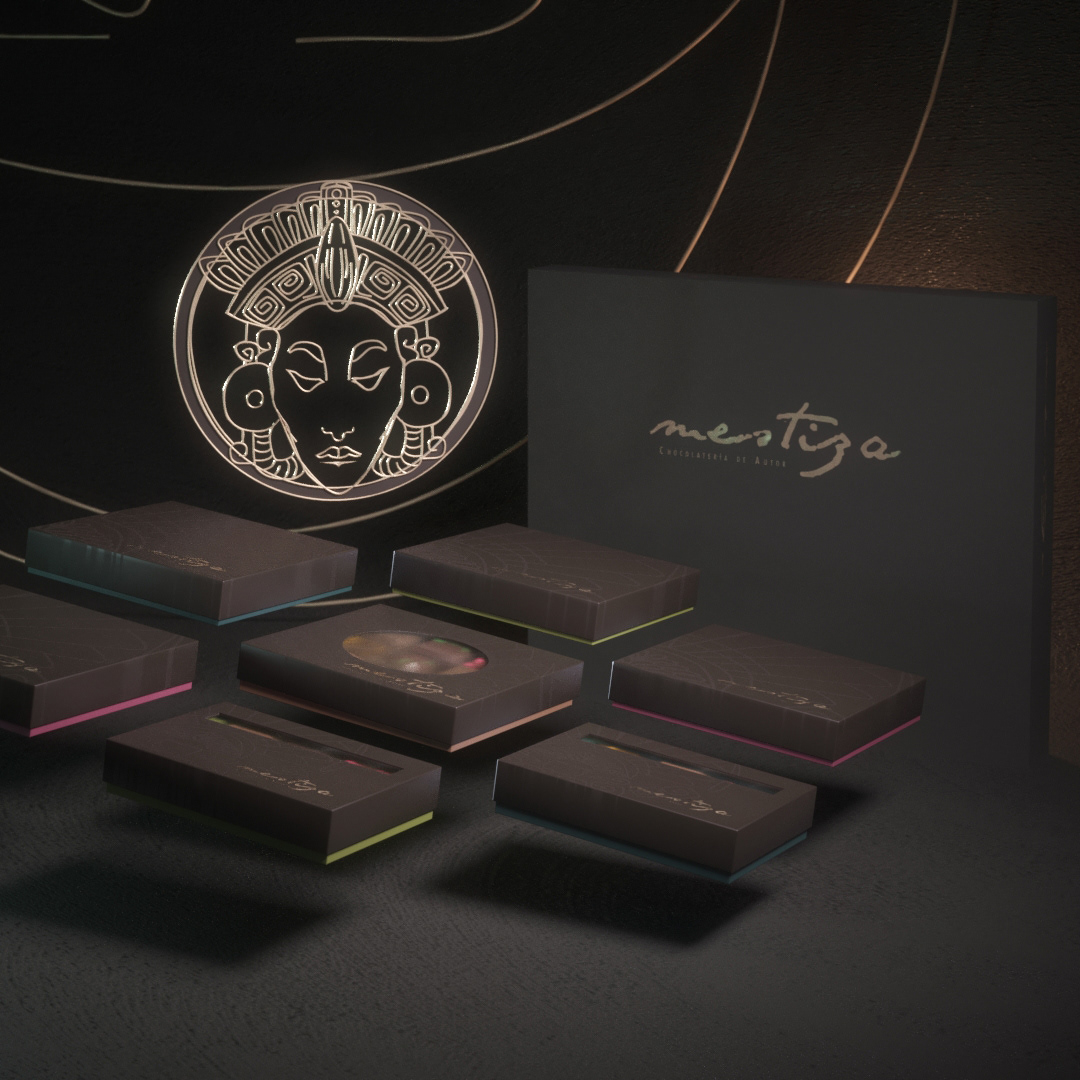 Render 3D branding  brand design vray Packaging chocolate box Mexican