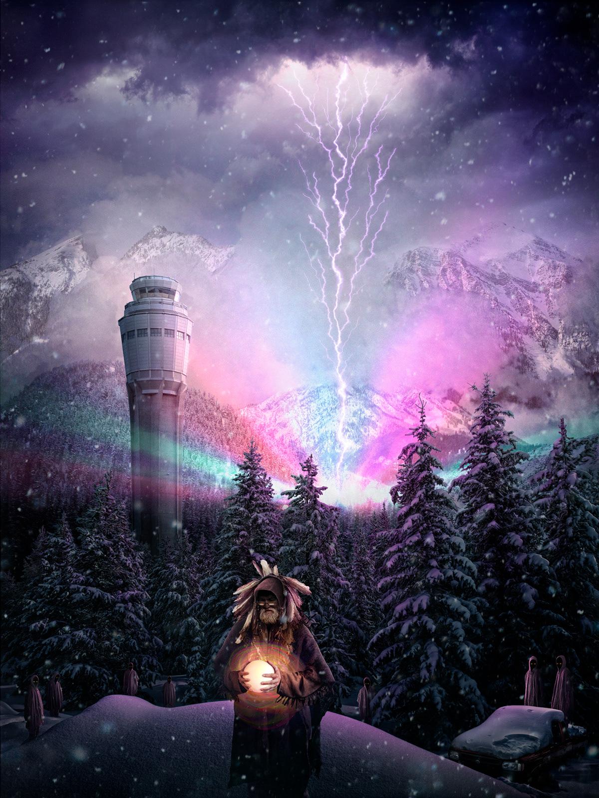 white human  Nick Pedersen science fiction Sci Fi lightning future Arctic winter inspire alien post-apocalyptic photoshop photomanipulation photoillustration