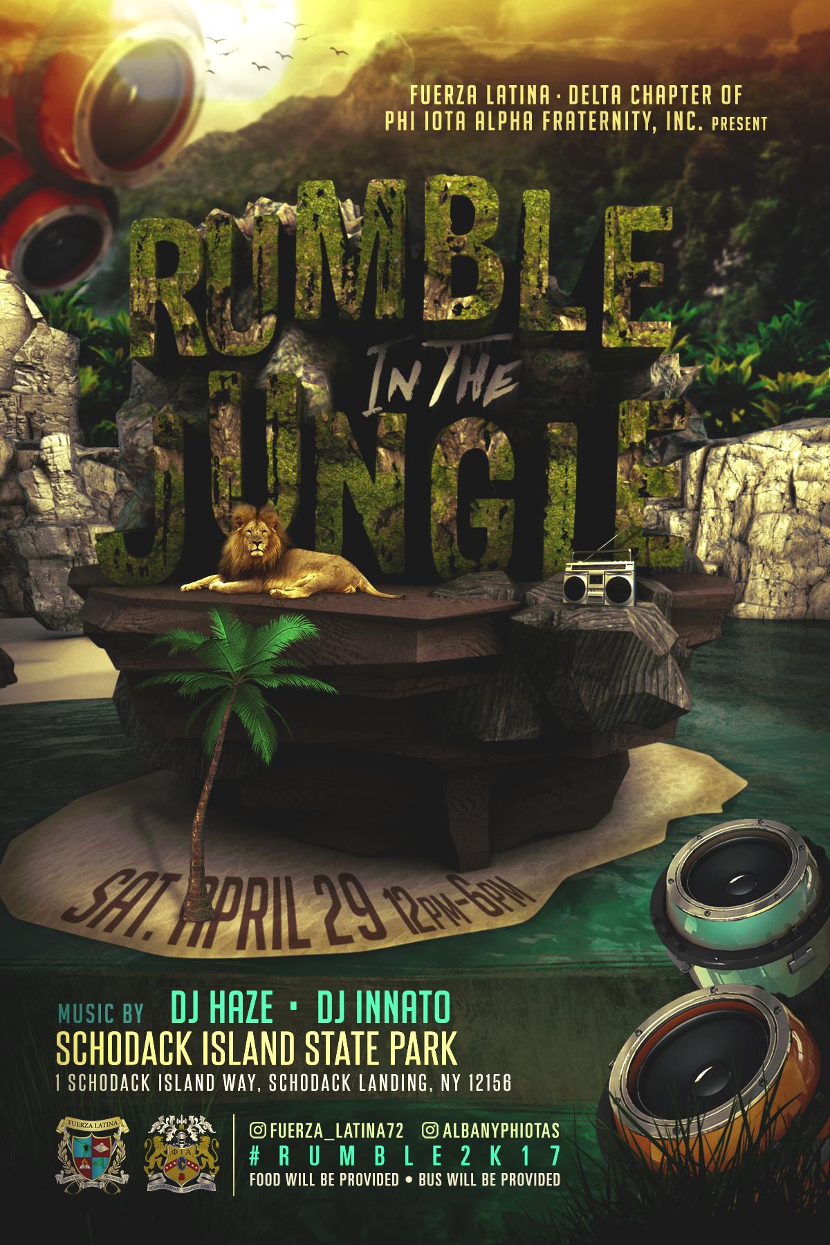 jungle fuerza latina latino Albany University College Event social cinema4d festival Nature 3D typography