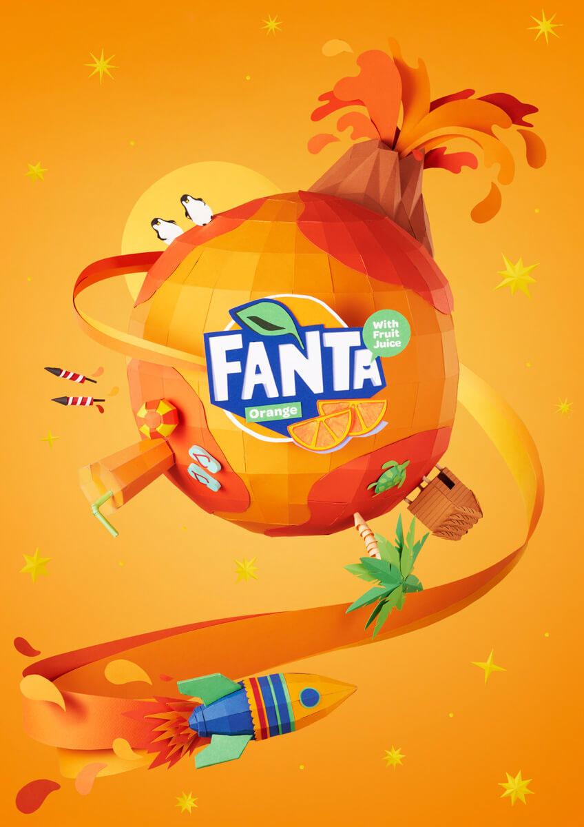 Paper Craft Rebranding for FANTA Flavorland Campaign