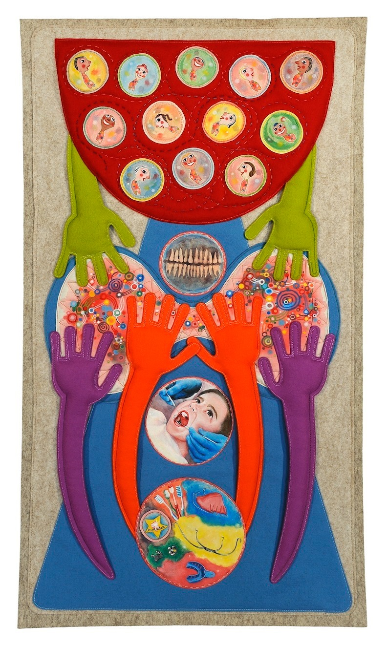 fabric felt hand-painted hand-sewn happy smiles orthodontics wall-hanging alex mitchell twinki-winki