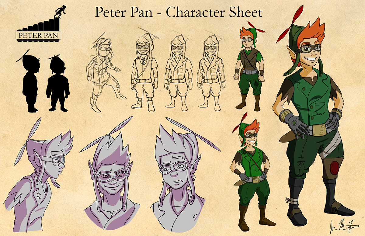 Animation Character Design Portfolio : Peter pan redesigns intermediate digital fall on risd
