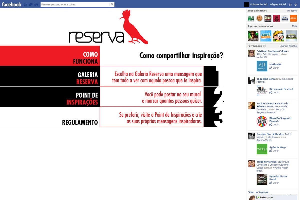 reserva  publicidade  internet  FACEBOOK   app  api  Aplicativo design  webdesign  criação campanha Redação  webwriting online digital
