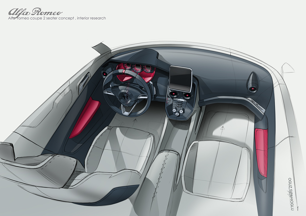 Alfaromeo Coupe 2 Seater Interior Concept On Behance