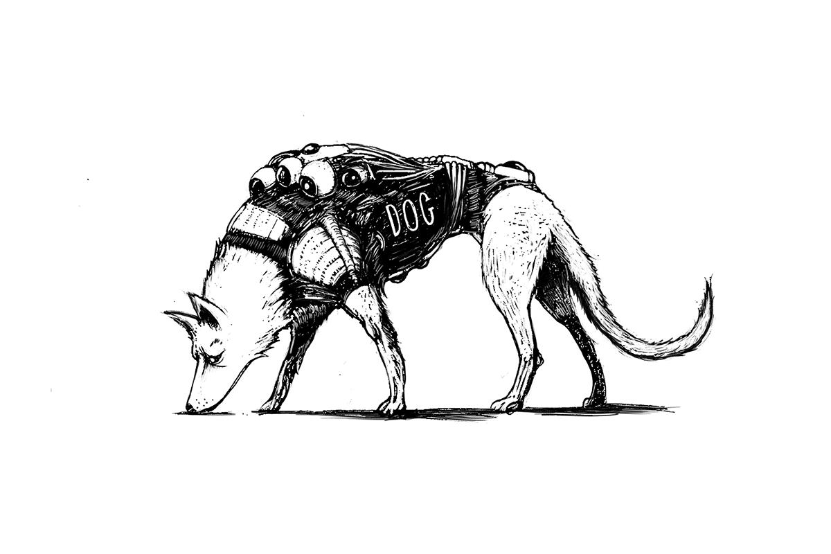 Character design  dog police dog futuristic black and white sketch Drawing  sketchbook