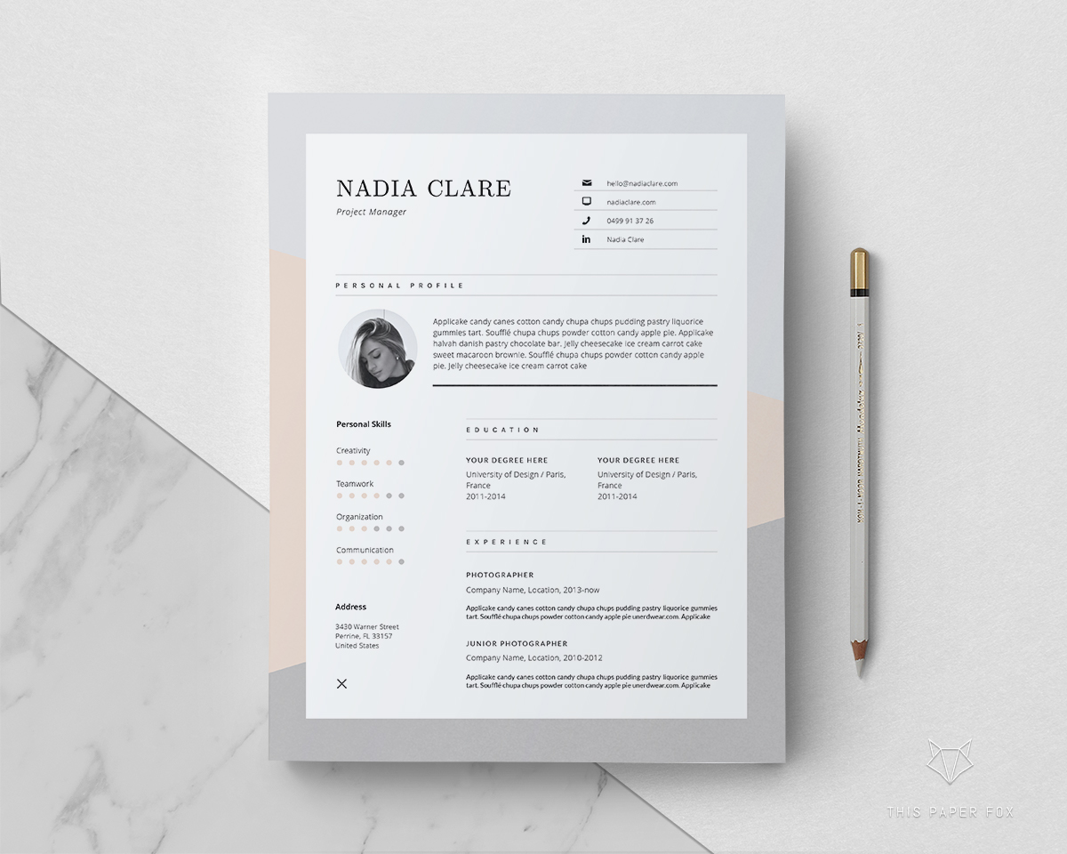 NADIA — Resume Template on Behance