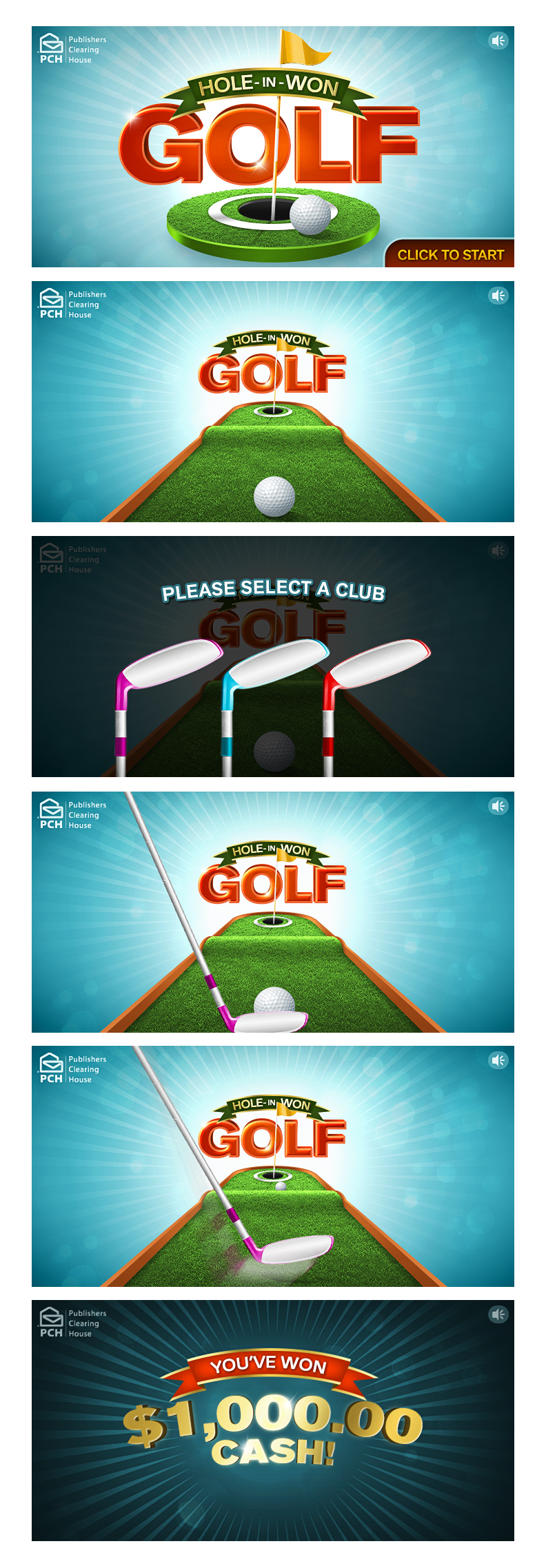 Instant Win Games-Hole-in-Won Golf on Behance