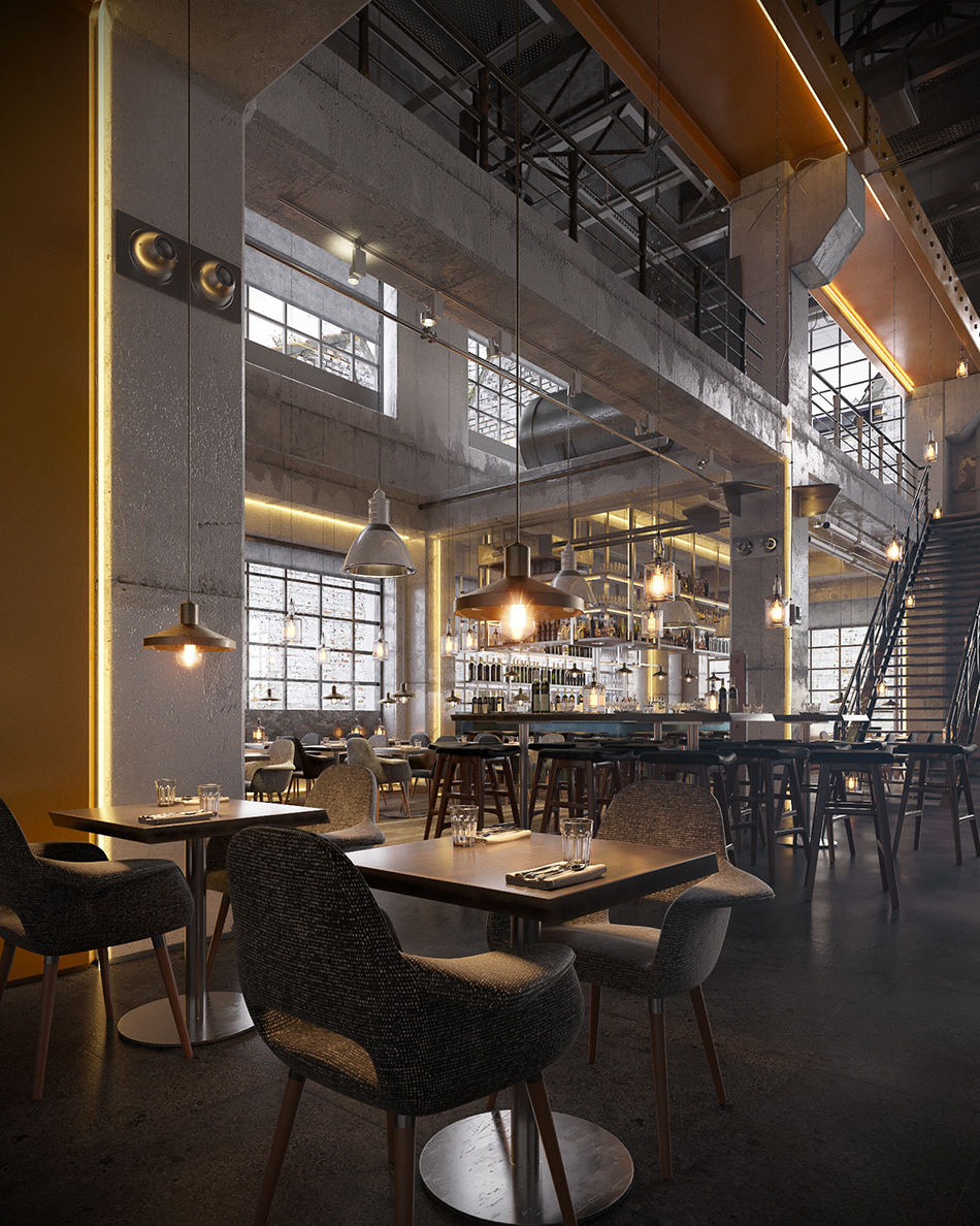 Industrial bar and restaurant on behance
