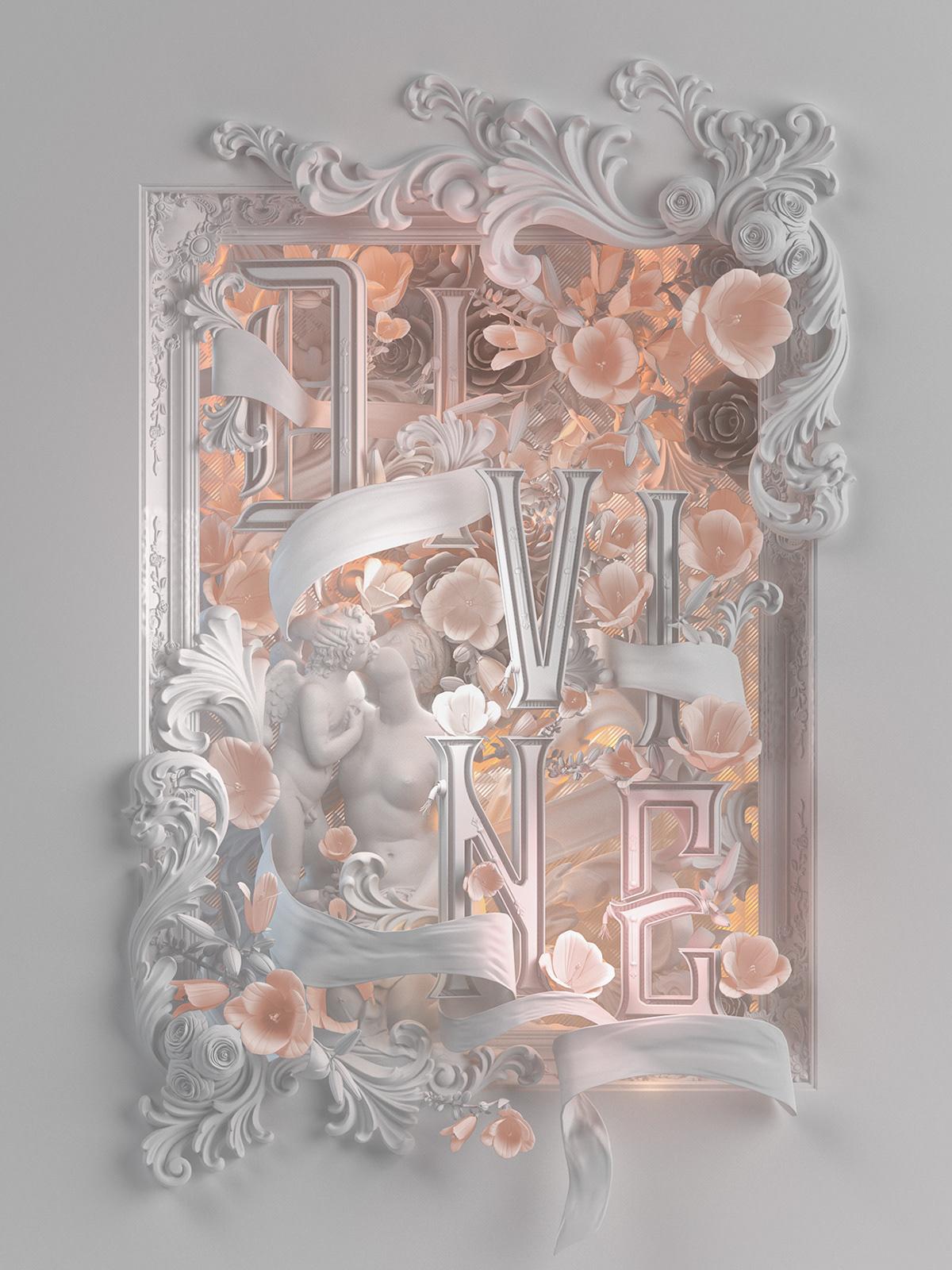 heaven 3D Type Acanthus Victorian cupid venus Flowers scroll lettering